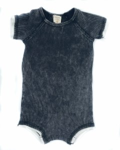 LIL LEGS DENIM WASH ROMPER BLK