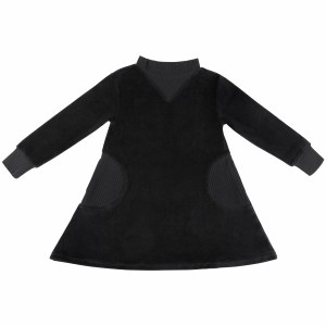 POCKET VELOUR DRESS BLK 2