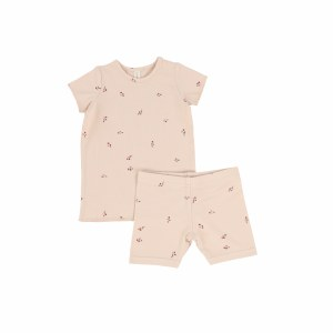 POPPY LOUNGE SET PNK/MVE S/S