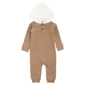 QUILTED HOOD ROMPER CML 12M