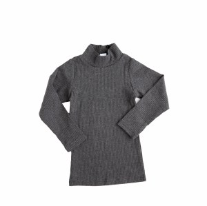RIBBED MOCK NECK TOP GY 2