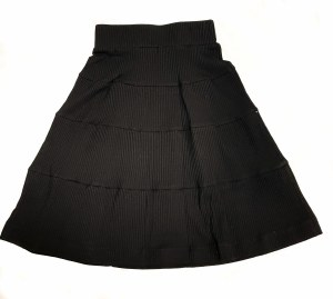 RIBBED SOLID SKIRT BLK 18