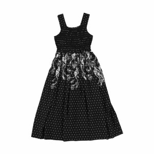 SMOCKED PRINT DRESS BLK 12