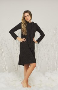 SWEATER HOODIE DRESS BLK 12