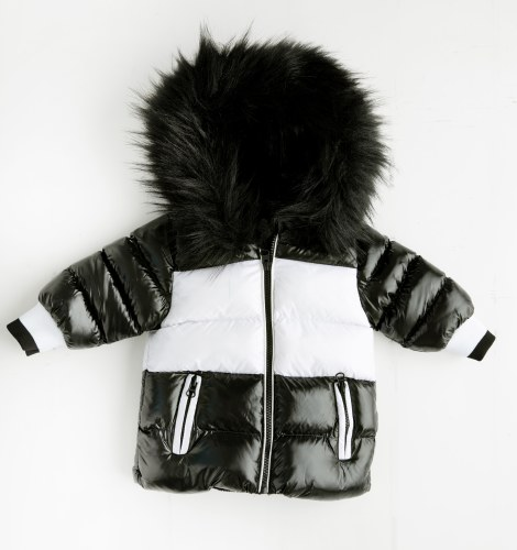 WINTER JACKET BLKWHT 6-12M