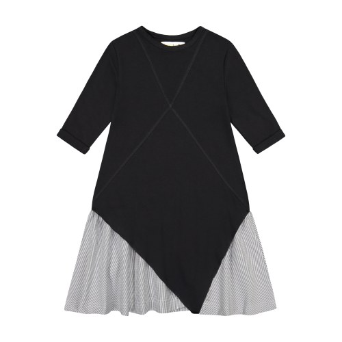 X PANEL SOLID DRESS BLK 4