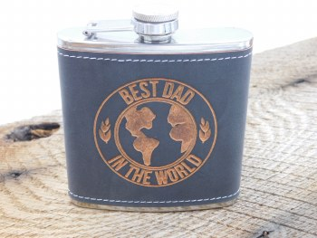"Flask ""best Dad In World"" Gray"