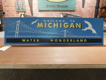 """Michigan Water Wonderland Sign 40 1/2"""" x 11"""" Pick Up In-Store Only"""