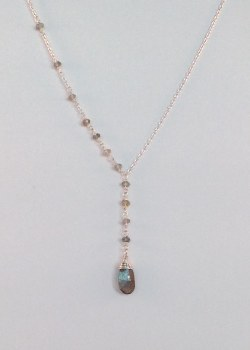 Natural Labradorite Y necklace Sterling Silver 18""