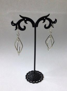 Silver Dangle Earrings Diamond Shape