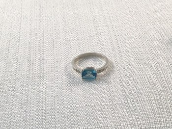 Blue Topaz and 6 Diamond Antique Cushion Cut sterling Silver Ring size 7.5