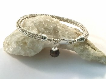 Smokey Quartz Sterling Silver Viking Knitted Bracelet 7.5""