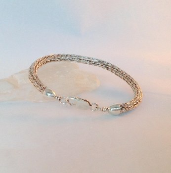 """Sterling Silver Viking Knitted Bracelet with Pearl 7.5"""""""