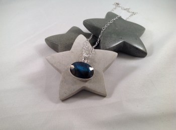 Labradorite rose cut natural stone set in handmade Sterling Silver pendant