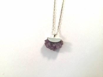 Natural Amethyst Crystals set in handmade sterling silver pendant