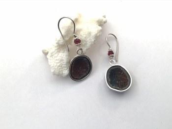 Geode Garnet Sterling Silver Earrings