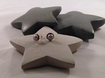Gray Pearl Sterling Silver Post Earrings