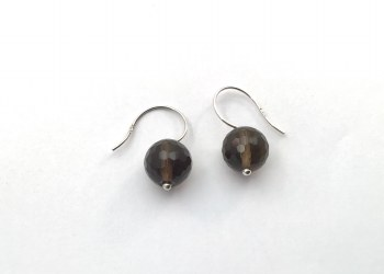 Faceted Smokey quartz Sterling Silver Earrings