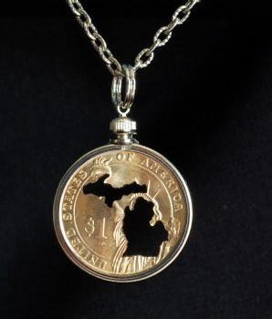 Carved Coin Dollar Michigan Mitten Silhouette Necklace