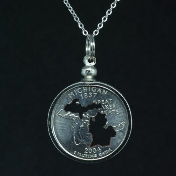 Carved Coin Quarter Michigan Mitten Silhouette Necklace