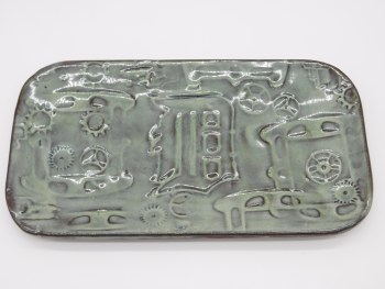 Tray Ceramic Old English D in Sage Green
