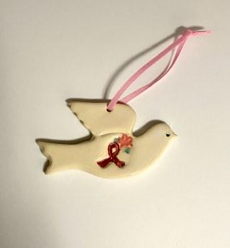 Ceramic Breast Cancer Awareness Dove Ornament