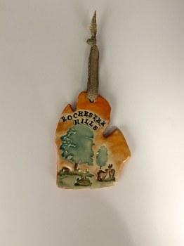 Ceramic Rochester Hills Mitten Ornament