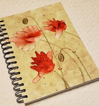 Watercolor Notebook Poppies on Taupe 6x8