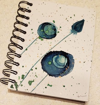 Watercolor Notebook Blue Roses 4x6