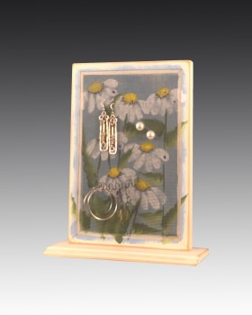 Earring Holder on wood base
