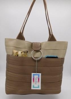 Seat Belt Purse - Tan/Medium Brown Large
