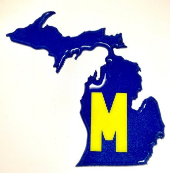 Michigan Mitten Wall Art Maize and Blue