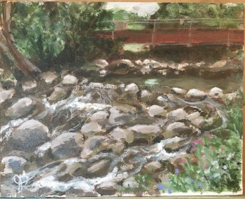 Bridge over Rocky Waters 8x10 framed Original Acrylic Painting