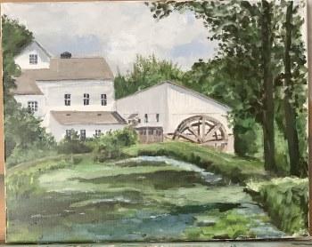 Wolcott Mill 11x14 framed Original Acrylic Painting