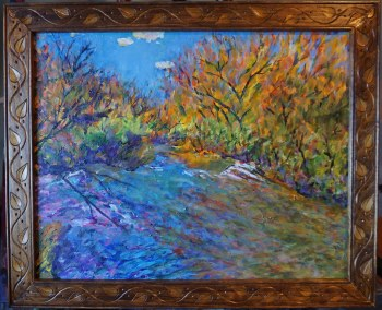 "Framed Original Oil and Acrylic Plein Air Painting 20""x16"""