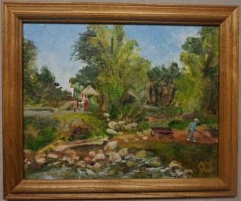 "Framed Original Oil and Acrylic Plein Air Painting Rochester Park Sceen 8"" x 10"""