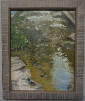 "Framed Original Oil and Acrylic Plein Air Painting ""Mallards"" 8"" x 10"""