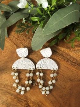 Polymer Clay earrings Perriwinkle beads