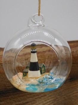 Ornament Lighthouse Wh/blk