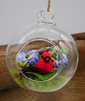 Cardinal Ornament W/ Prpl Flow