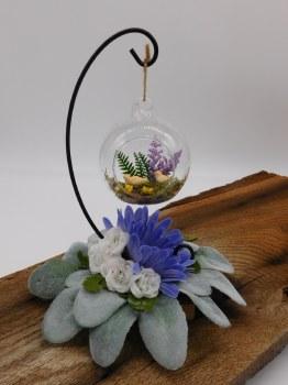 Floral Stand Silk Purple/white