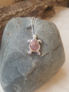 Agate Turtle  #8 Sterling Neck