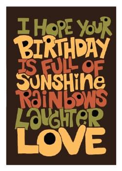 "Birthday Card Hope ""I Hope Your Birthday is full of Sunshine..."""