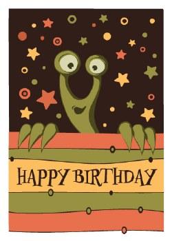 "Birthday Card Alien ""Happy Birthday"""
