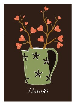 "Thank You Card ""Thanks"" Pitcher of Sprouting Hearts"