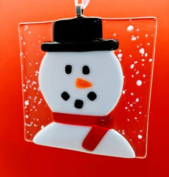 Fused Glass Snowman Head Red