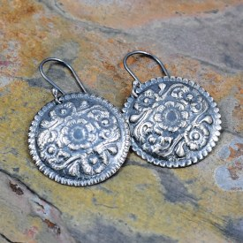 Flower Swirl Circle Impressed Earrings