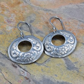 Flower Swirl Oval Washer Impressed Earrings