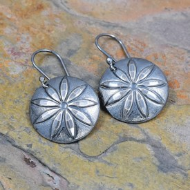 7 Point Flower Button Impressed Earrings