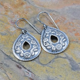 Flower Teardrop Washer Impressed Earrings